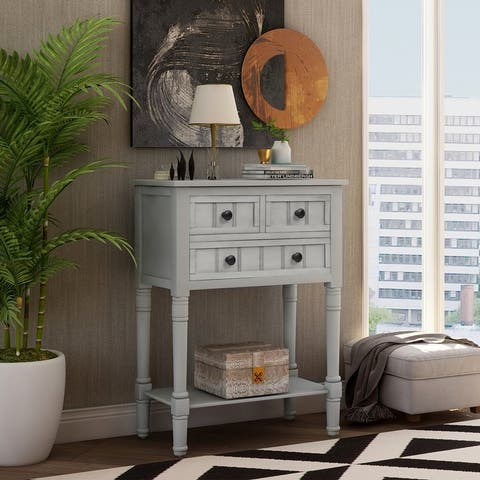 Narrow Console Table with 3-Drawers and Shelf