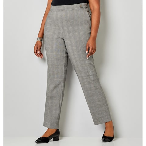 AVENUE Women's Super Stretch Glen Plaid Pull-On Pant - Grey Print