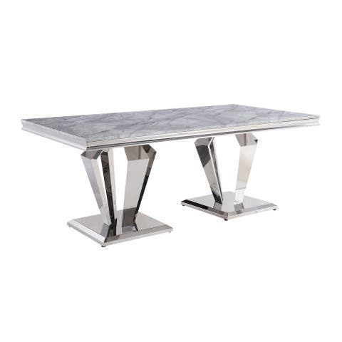 ACME Satinka Dining Table in Light Gray Printed Faux Marble and Mirrored Silver Finish