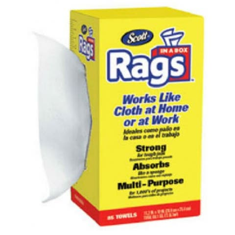 Scott 75240 Rags In-A-Box with Easy Pop-Up Dispenser, White, 85-Count