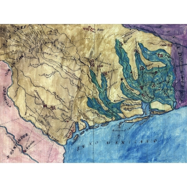 Shop Topographic Map Of The Province Of Texas Stephen F Austins Hand