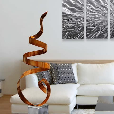 Statements2000 Large Abstract Metal Sculpture Modern Garden Art Decor by Jon Allen - Copper Sea Breeze with Silver Base