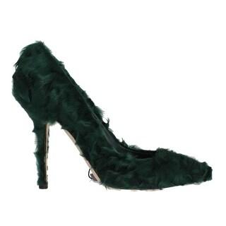 Dolce & Gabbana Dolce & Gabbana Green Xiangao Lamb Fur Leather Pumps