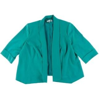 Kasper Womens Plus Shawl Collar Cuff Sleeves Open-Front Blazer