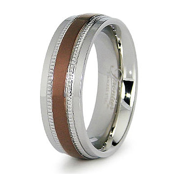 7.5mm Stainless Steel Men's Ring with Espresso Plated Center (Sizes 8-12)