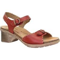 Dromedaris Women's Sandy Ankle Strap Sandal Red Leather