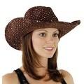 Glitter Sequin Trim Cowboy Hat for Ladies - Thumbnail 50