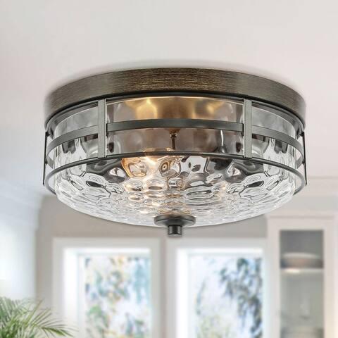 """Modern Water Ripple Glass 3-light Full Flush Mount Ceiling Light - D12.5""""xH6"""""""