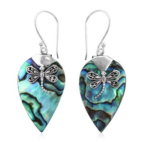 925 Sterling Silver Abalone Shell Dangle Drop Earrings