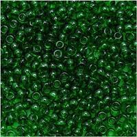 Toho Round Seed Beads 11/0 7B 'Transparent Grass Green' 8 Gram Tube