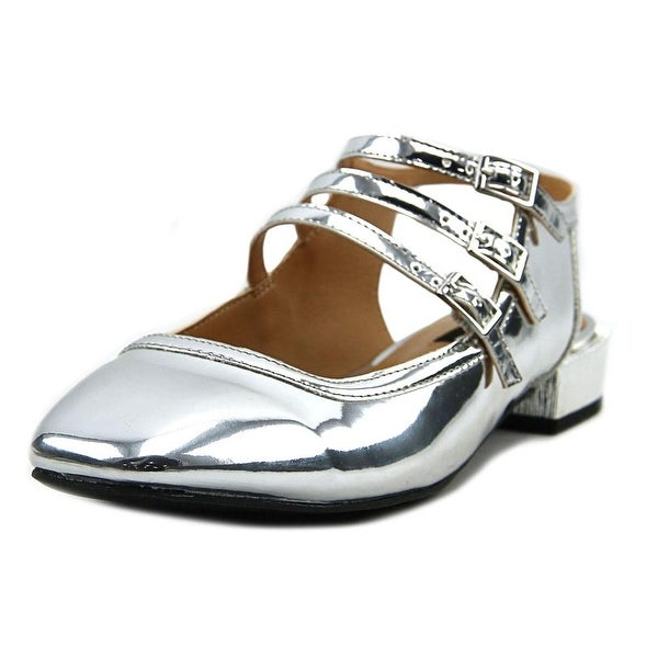 Design Lab Lord & Taylor Alica Women Patent Leather Silver Slingback Heel