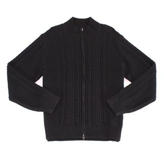 Dockers NEW Black Mens Size Small S Full Zip Cable Knit Wool Sweater