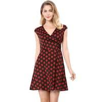 Allegra K Women's Cap Sleeve V Neck Polka Dot A-line Dress - Black