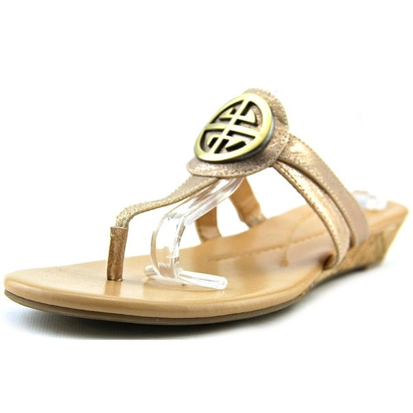Kim Rogers Hancy Women Open Toe Synthetic Gold Wedge Sandal
