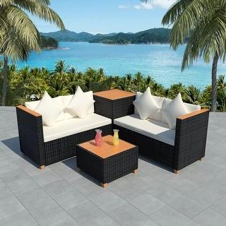 "vidaXL 4 Piece Garden Lounge Set with Cushions Poly Rattan Black - 46.5"" x 23.6"" x 27.6"""