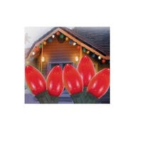Set of 25 Opaque Red C9 Christmas Lights - Green Wire