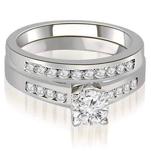 0.95 cttw. 14K White Gold Channel Set Round Cut Diamond Bridal Set