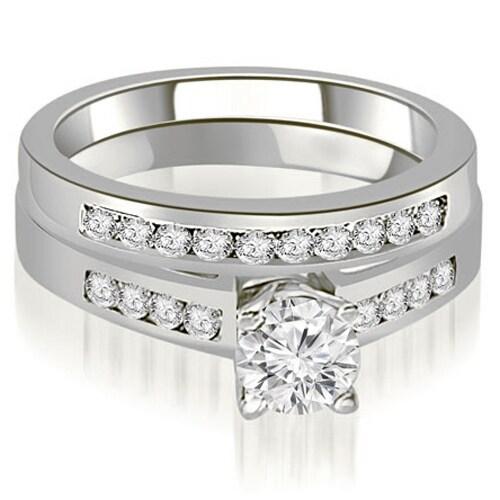1.20 cttw. 14K White Gold Channel Set Round Cut Diamond Bridal Set
