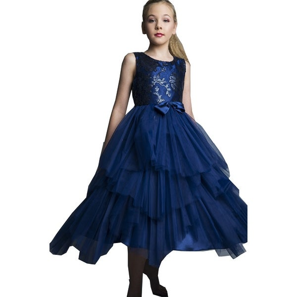 01eff76822 Girls Navy Sequin Tiered Tutu Junior Bridesmaid Dress