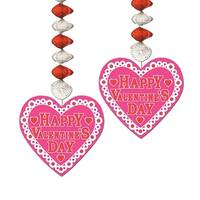 """Club Pack of 24 Happy Valentines Day Danglers Hanging Party Decorations 30"""" - Pink"""