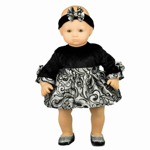 15 Inch Baby Doll Party Dress & Headband Doll Clothes Outfit Fits American Girl's Bitty Baby Twins