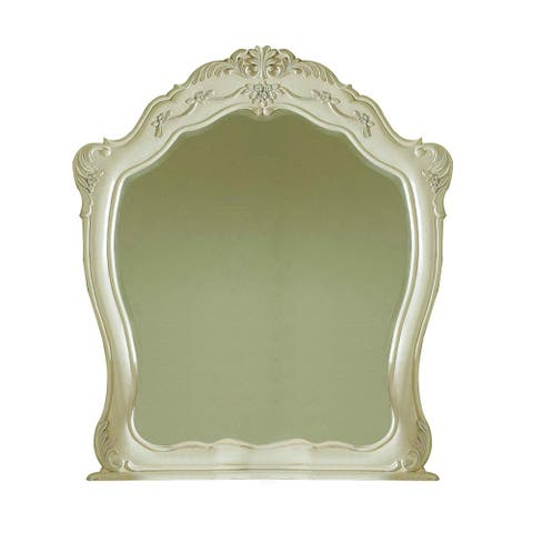 Transitional Arch Shape Wooden Frame Mirror with Carved Details, White