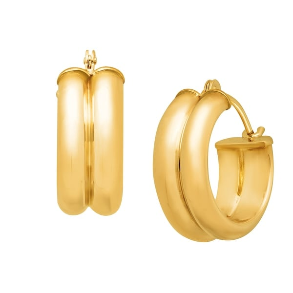 Just Gold Double Round Hoop Earrings in 14K Gold