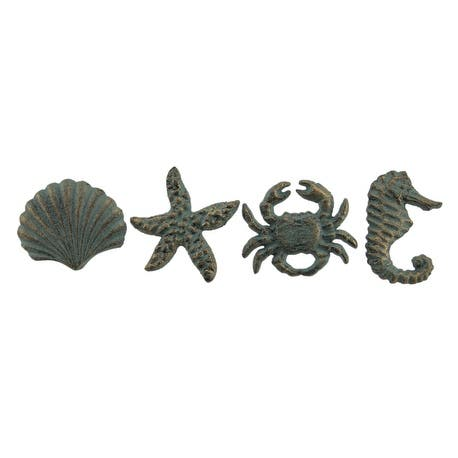 Coastal Sea Life 4 Piece Cast Iron Drawer Pull Set - 2 X 2.5 X 1.25 inches