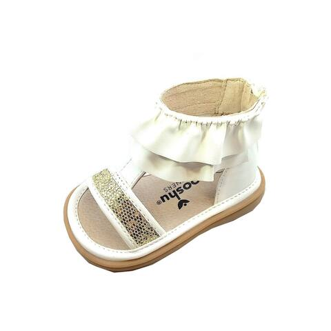 Mooshu Trainers Little Girls White Squeaky Lucy Ruffle Strap Sandals