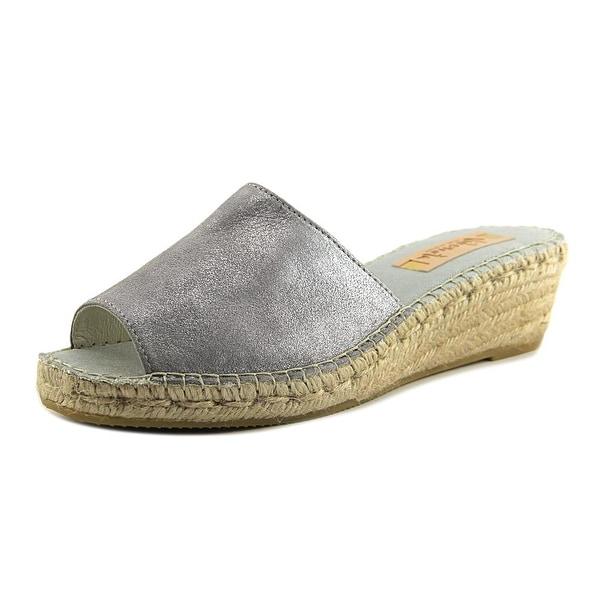 Vidorreta Summer Women Open Toe Leather Silver Wedge Sandal