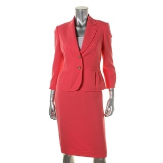Tahari ASL Womens Carly Doubleknit 2-Button Blazer Skirt Suit