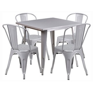 """Offex 31.5"""" Square Silver Metal Indoor Table Set with 4 Stack Chairs"""