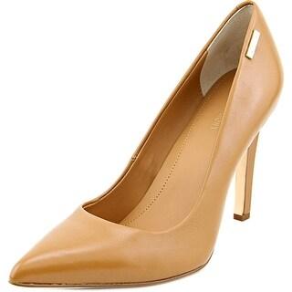 Calvin Klein Bristy Women Pointed Toe Leather Tan Heels