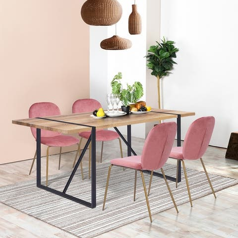 Furniture R Carbon Loft 5 Piece Dining Set with Golden Leg Chairs