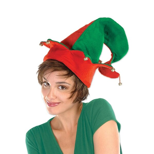Club Pack of 12 Red and Green Striped Felt Elf Hat with Bells - Adult Sized