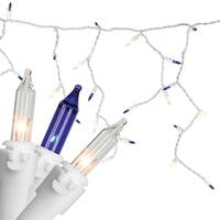 "Set of 100 Blue & Clear Mini Icicle Incandescent Christmas Lights 3"" Spacing - White Wire"