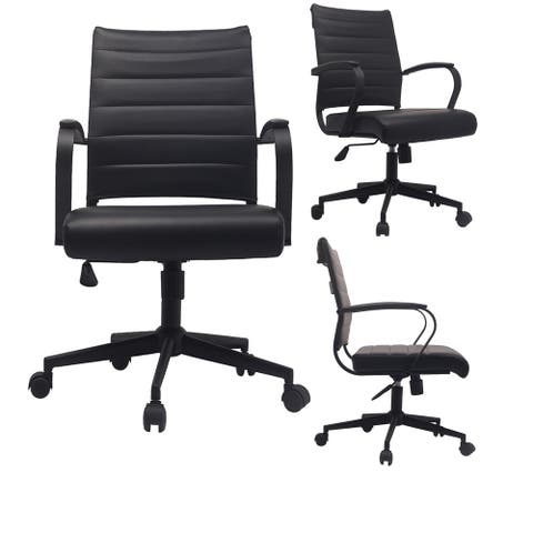 Black Office Chairs Mid Back Ribbed PU Leather Executive Task Work Conference with Arms Wheels Tilt Swivel Rolling