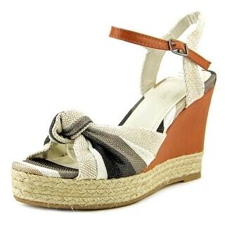 Bamboo Lexi-45 Women Open Toe Canvas Wedge Sandal