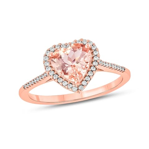 Cali Trove 1/6 Cttw Diamond and Heart shape Morganite Fashion Ring in 14 Kt Rose Gold