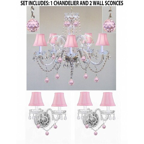 3pc Lighting Set - Crystal Chandelier and 2 Wall Sconces With Pink Crystal Balls and Pink Shades