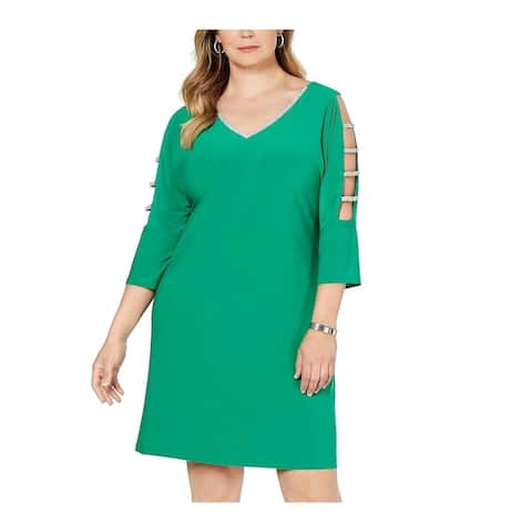 MSK Women's Dress Green Size 1X Plus Sheath Rhinestone V-Neck Cutout