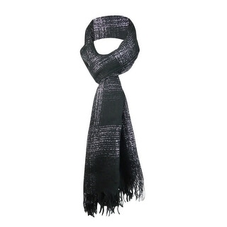 Style & Co. Women's Fringe Metallic Plaid Wrap Scarf - os