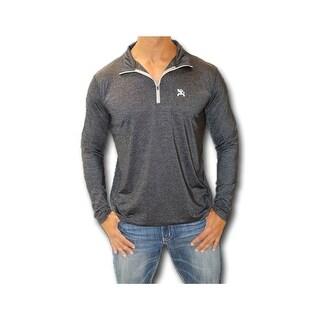 HOOey Shirt Mens Long Sleeve 3/4 Zip Reflective Logo Black