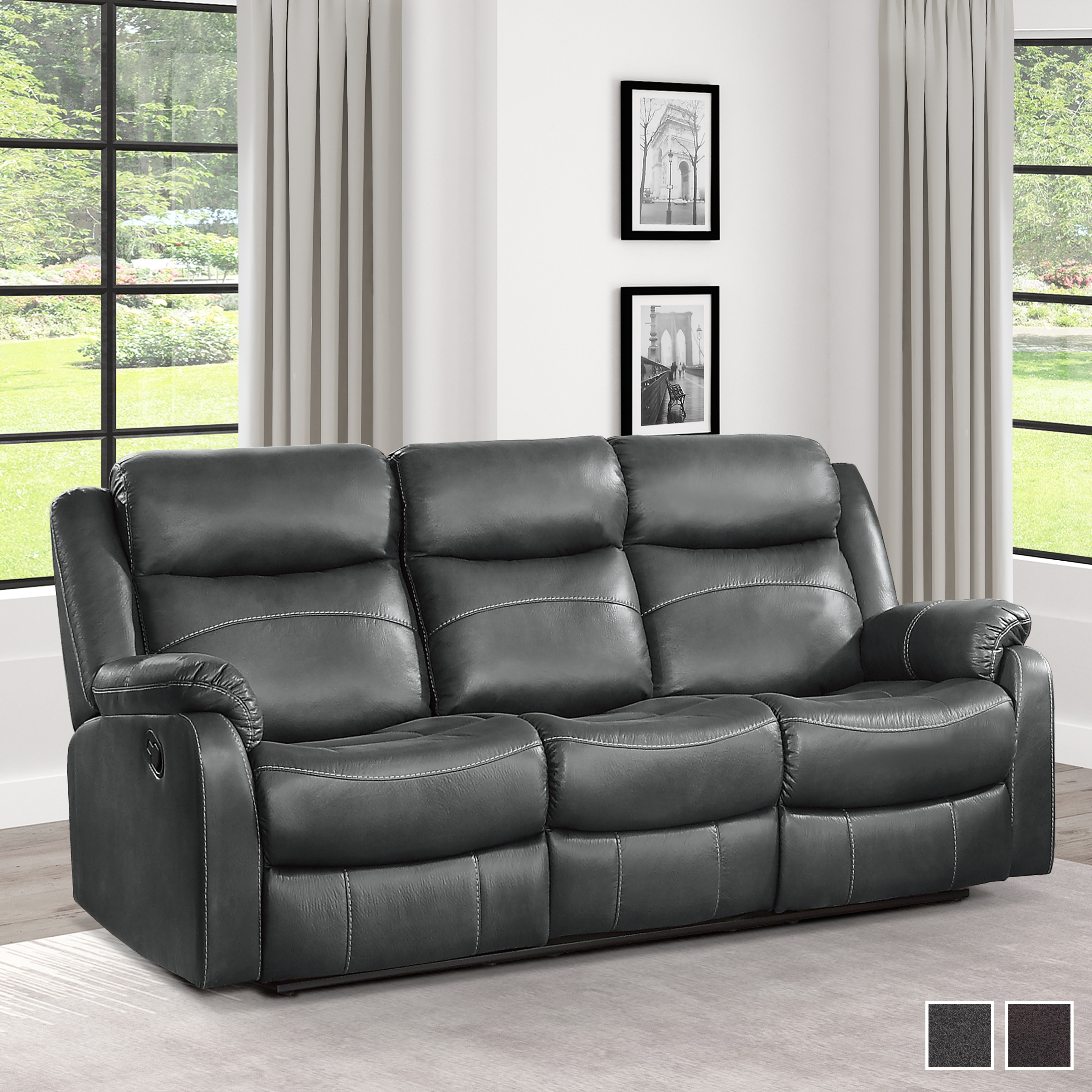 Picture of: Shop Soho Double Lay Flat Reclining Sofa With Drop Down Cup Holders Overstock 31511036