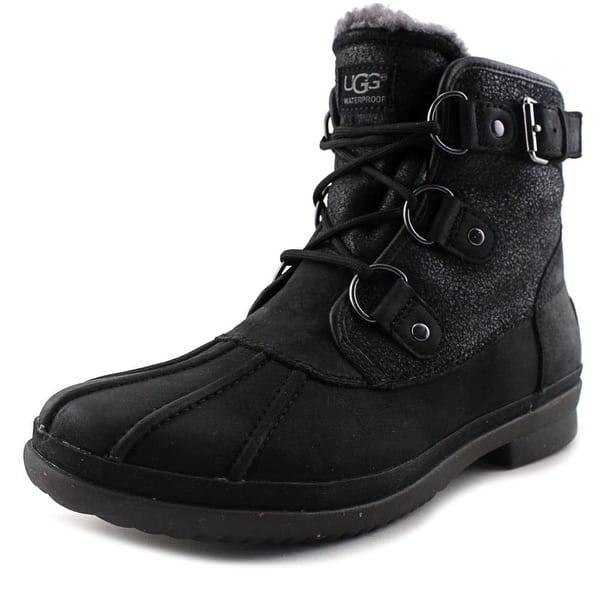 32a1fcee3fe Shop Ugg Australia Cecile Women Round Toe Leather Black Winter Boot ...