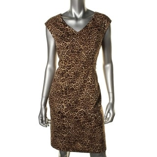 Jones New York Womens Ponte Animal Print Wear to Work Dress - 8