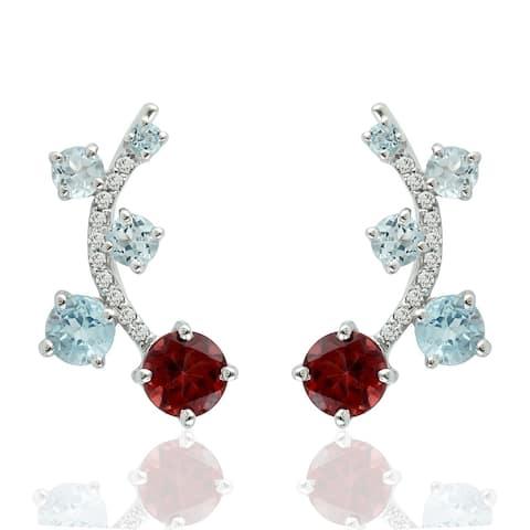 Natural Garnet Ear Climber Earrings 925 Sterling Silver Topaz Jewelry