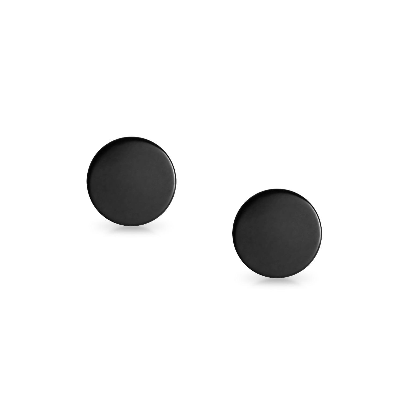 1 Pair Fake Plugs round Earrings Stainless Steel Plugs Piercings Silver-Black