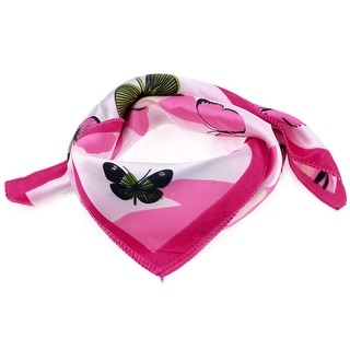 Unique Bargains Polyester Butterfly Pattern Neck Scarf Neckercheif Pink Green for Lady