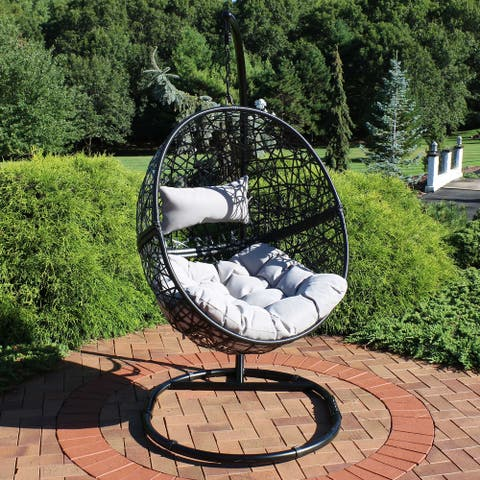 Gray Jackson Hanging Basket Egg Chair Swing with Stand - Resin Wicker